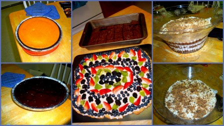 left; center; right: pumpkin-pie cheesecake with a dark-chocolate glaze; a fruit tart and brownies; layered punchbowl cake.