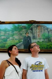 My Fulbright colleague Katherine and I goofing around in front of a painting of Jinmen's most famous landmark (母忘在莒).