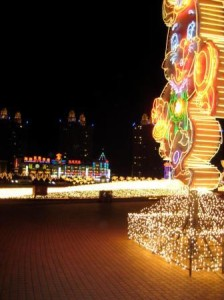 Dalian's Olympic Square at night during New Years: Year of the Rabbit.