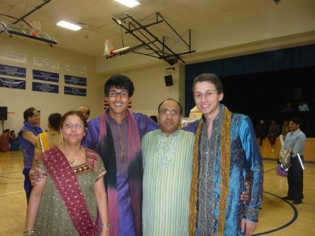My parents, Bernard, and me celebrating Nawratri.