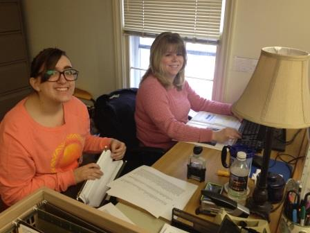 Laura came back early to help Angie process the applications.  (Not pictured but also working furiously are Cindy, Pat, and Pam!)