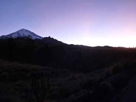 The sun rising over the Orizaba Peak, or Pico de Orizaba, the tallest mountain in Mexico.