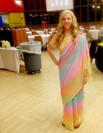 Since I was an MC for the night, I decided to wear a beautiful multi-colored sari from India that was left in the Unity House by a previous Juniata student.