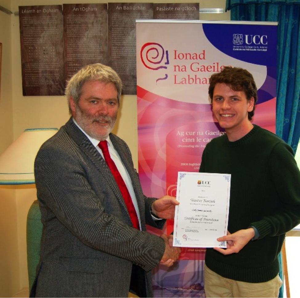 This is me receiving my certificate for Intermediate Modern Irish.