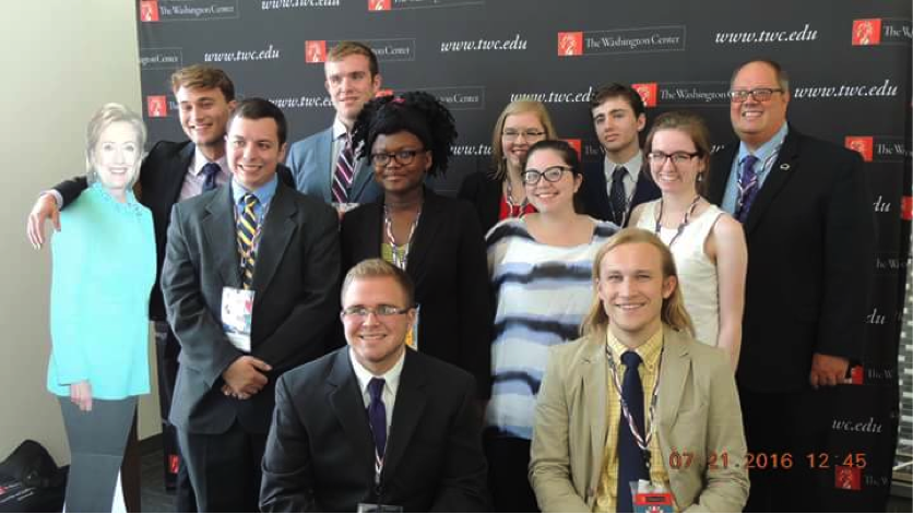 Figure 4Dr. Plane (far right) and me among other Juniata students at Temple University for the DNC!