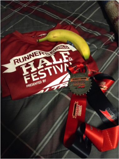 Figure 2: The free t-shirt, finisher's medal and the all-important banana.