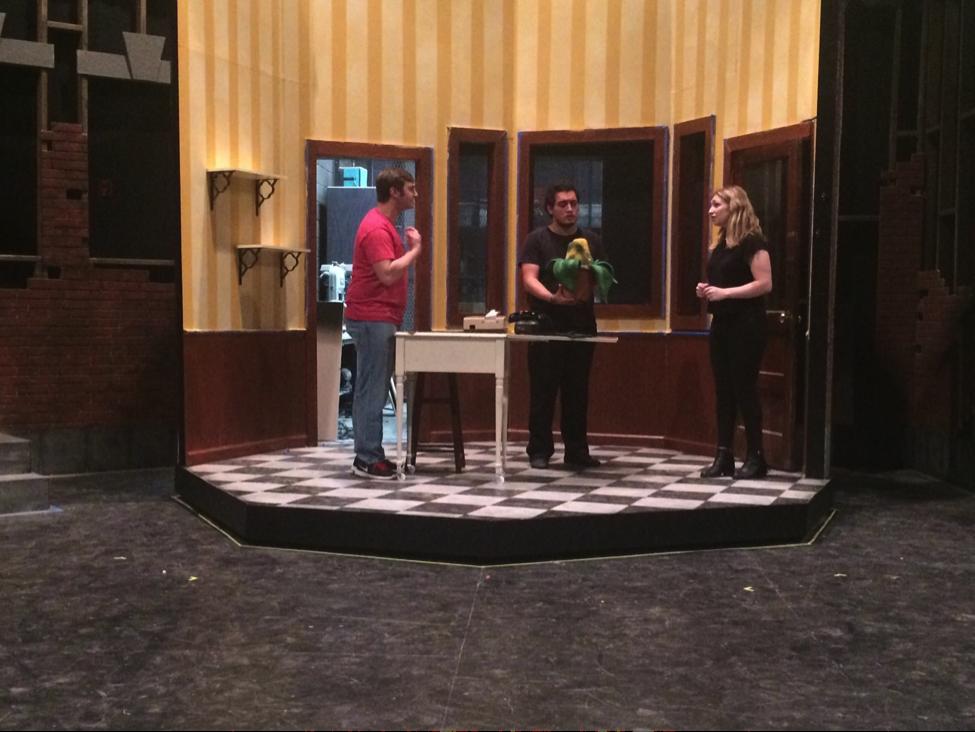 Cosimo Sciortino (left), Carlos Velasco Carrillo (center), and I working on a scene in rehearsal.