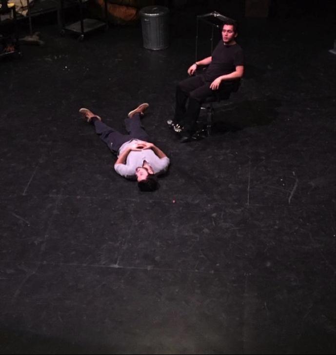 Max Martin-Udry (left) and Carlos Velasco Carrillo (right) reviewing a scene.