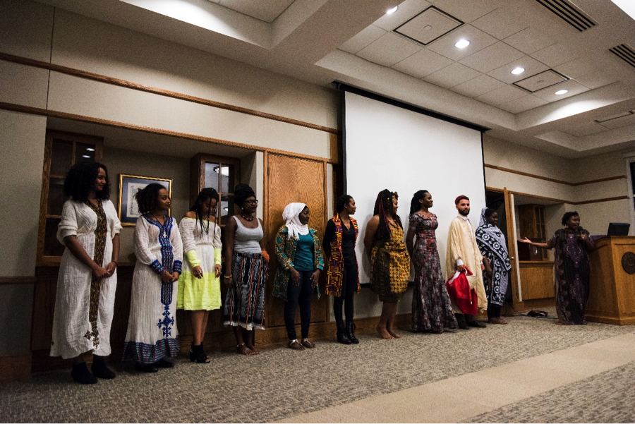 Figure 1: Ubuntu Club Members in Traditional African Attires: (from left to right): Melat Solomon, Ruhama Almaw, Kisest Birru, Anne-Marcelle (Me), Sayida Rabiou-Yari, Zoe Michael, Theresa Perry, Hephzibah Joshua, Taha Barkaoui, Joycelyn Radeny & Stephanie Njeru
