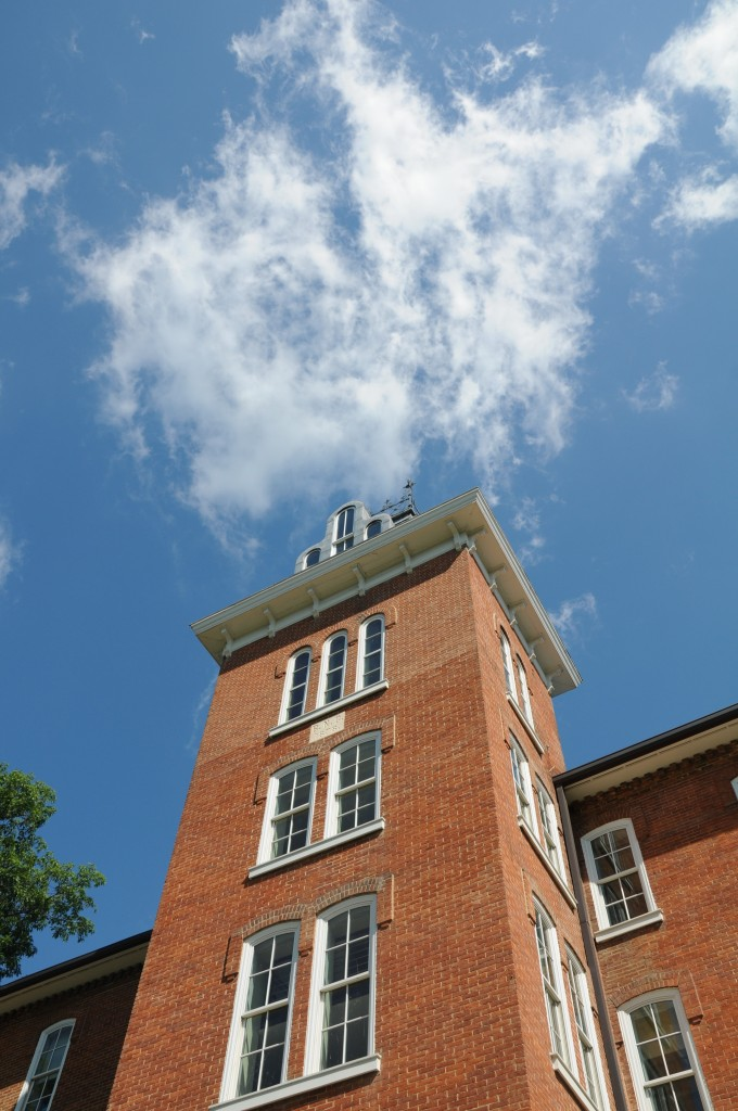 A view of the beautiful Juniata sky above the iconic Founder's Hall Bell Tower. (Photo by Valerie Hersh '16).