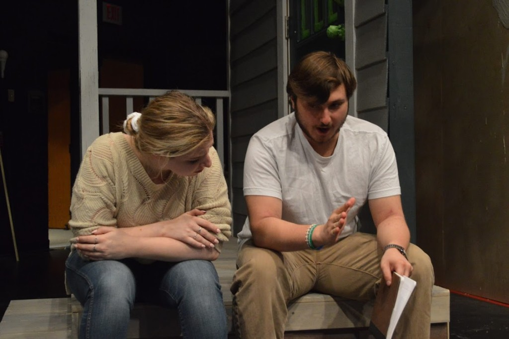 """Cosimo Sciortino, class of 2020 (right) and I during a rehearsal for """"She Kills Monsters""""."""
