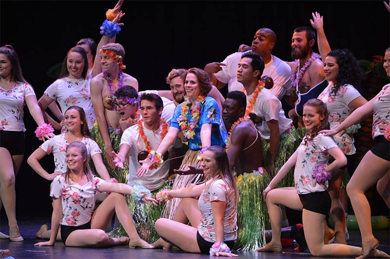 Amy Mathur, the Dance Team and all the Mr. Juniata participants at the end of their opening number.