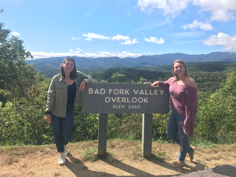 My sister and I at the Bad Fork Valley Overlook on the Blue Ridge Parkway – unfortunately there is no such thing as the Good Spoon Valley… we looked.